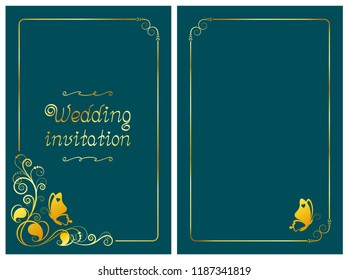 Green wedding invitation card and save the date template with golden foil design