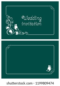 Green wedding invitation, rsvp invite, thank you and save the date cards with floral design and butterfly. Horizontal card template for foil print