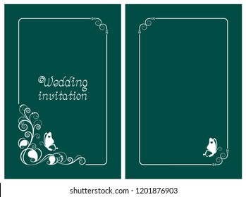 Green wedding invitation, rsvp invite, thank you and save the date cards with floral design and butterfly. Vertical card template for foil print