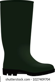 Green wellie. vector illustration