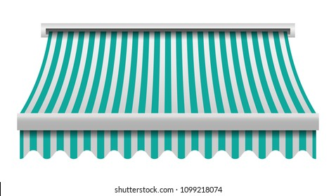 Green white awning mockup. Realistic illustration of green white awning vector mockup for web design isolated on white background