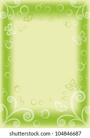 green and white background with butterflies, circles and figures. Vector eps10, contains transparencies