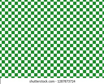 Green and white checkerboard background