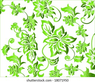 Green and white flowery pattern vector illustration with intricate floral arabesques