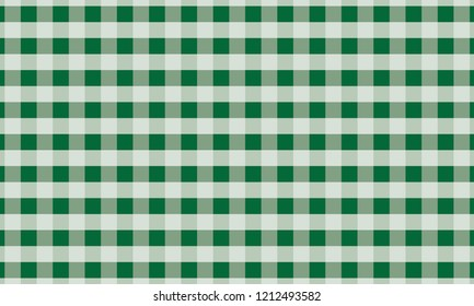 Green and white gingham background texture.Vector illustration
