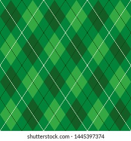 Green  and  White Seamless Argyle Pattern Vector Background. Can Be Used for Wallpaper, Pattern Fills, Web Page Background, Surface Textures