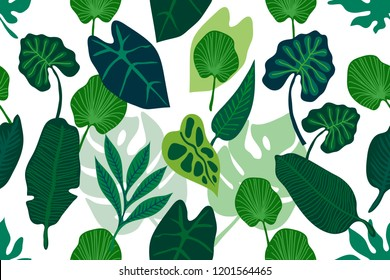 Green wide jungle print. Seamless vector pattern with different palm leaves. On white background.