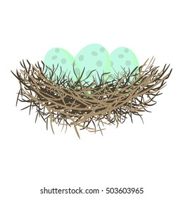 Green wild eggs in bird nest vector illustration.
