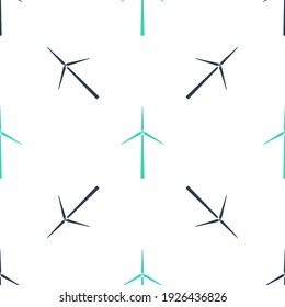 Green Wind turbine icon isolated seamless pattern on white background. Wind generator sign. Windmill silhouette. Windmills for electric power production.  Vector
