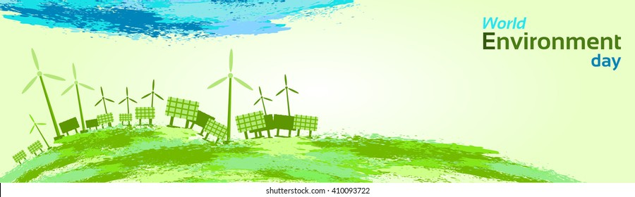 Green Wind Turbine Solar Energy Panel World Environment Day Flat Vector Illustration
