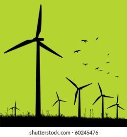 Green windmills.