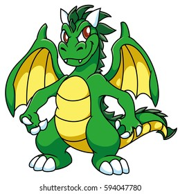Green winged sly dragon with yellow stomach and wings, with darken horns, cartoon, fantasy.