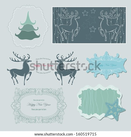 Green Winter Delicate Frames Stock Vector (Royalty Free) 160519715 ...