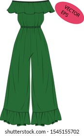 green woman jumpsuit vector illustration. technic draw