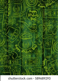 Green wooden background for St. Patrick's Day with  beer bottle, mug, horseshoe, pipe, hat and shamrock, vector illustration.