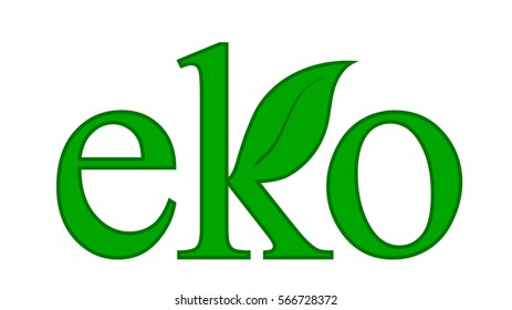 green word ekology with green leaf on the white background