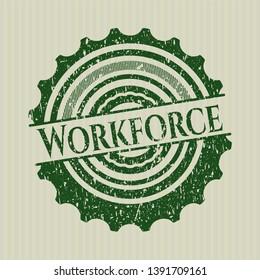 Green Workforce rubber stamp with grunge texture