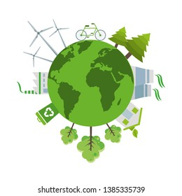 Green world and clean energy scenery vector digital image illustration