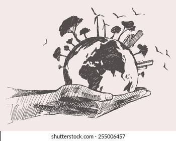 Green world concept. Tree on the earth in hands, hand drawn vector illustration, sketch, doodle