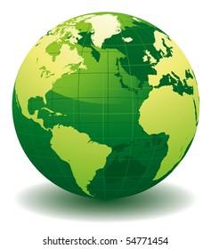Green World globe - editable vector illustration