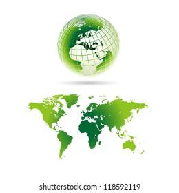 Green World globe maps