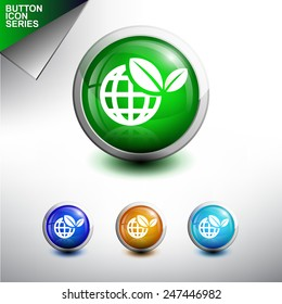 Green World Icon. Glossy Button Icon Set. Vector Illustration