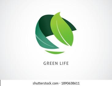 Green world logo and icon, concept design