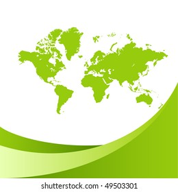 Green world map background. Vector illustration, isolated on a white.