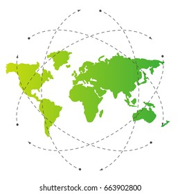 Green world map and blank orbit lines. Illustration template for citybanner, website, design, cover, infographics. Editable eps10 Vector. Transparent background.