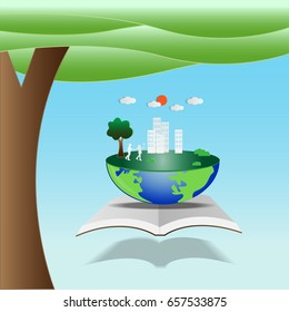Green world map global environment with happy family stories. Open book of happy family stories.