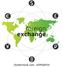 Green world map, money and bitcoin icon. Bitcoin remittance. Abstract sign currency exchange flat design. Illustration. Editable eps10 Vector. Transparent background.