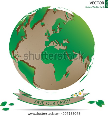 Green World Map Overlay On Recycle Stock Vector Royalty Free
