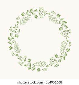 Green wreath. Vector isolated. Flowers and leaves frame.