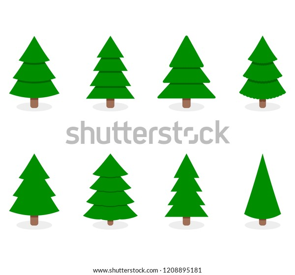 Green xmas tree set isolated on white. Vector tree christmas green, traditional symbol to new year illustration