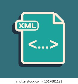 Green XML file document. Download xml button icon isolated on blue background. XML file symbol. Long shadow style. Vector Illustration