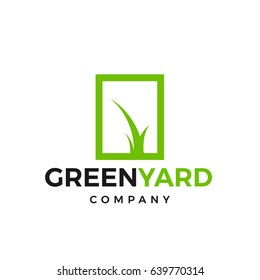 Green yard logotype. Grass grows in a square shape, a bright green logo
