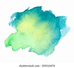 Green yellow blue watercolor hand drawn stroke isolated paper texture stain on white background. Water wet brush paint abstract artistic element for design, scrapbook, decoration, cover, template, web