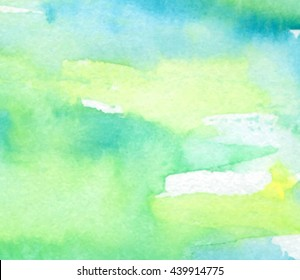 Green yellow blue white paper grain texture vector watercolor background. Abstract water color aquarelle hand drawn banner. Wet brush paint stroke element for greeting card, wallpaper, invitation, web