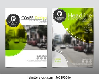 Green and yellow circle flyer cover business brochure vector design, Leaflet advertising abstract background, Modern poster magazine layout template, Annual report for presentation