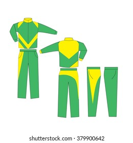 Green and Yellow combination Varsity Uniform, Suit sports, consisting of a jacket and trousers mockup