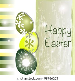 Green and yellow Easter card with original eggs and stripes