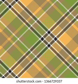 Green yellow fabric pixel texture seamless pattern. Vector illustration.