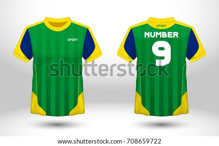 0d0857996fd Green Yellow Layout Football Sport Tshirt Stock Vector (Royalty Free ...
