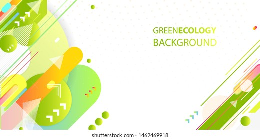 Green and yellow lines and points white background. Banner summer ecology poster triangle vector futuristic light minimal geometric
