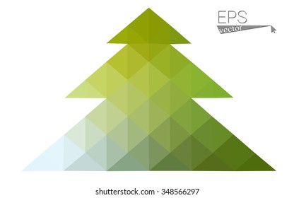 Green, yellow low poly style christmas tree vector illustration consisting of triangles. Abstract triangular poly origami or crystal design of New Years celebration. Isolated on white background