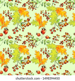 green, yellow oak leaves, clusters of mountain ash, rose hips on a green background, seamless pattern of autumn elements