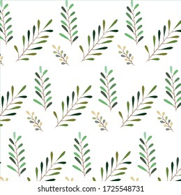 Green, yellow on white natural leaves pattern. Art Vector Background.