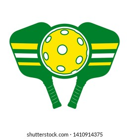 green and yellow pickleball symbol