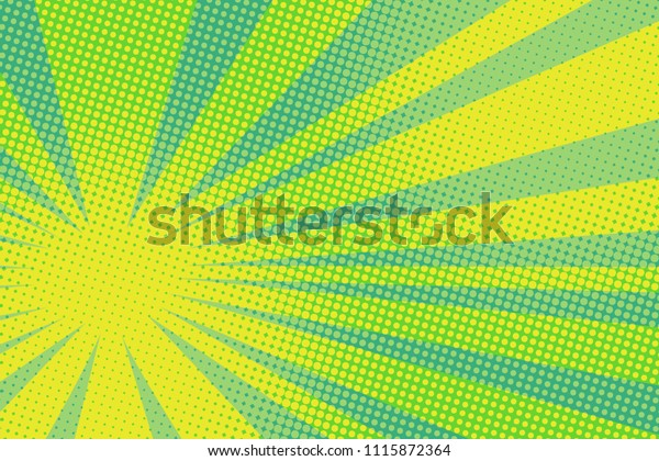 green yellow pop art background. retro vector vintage kitsch illustration drawing