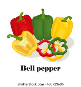 Green, yellow and red bell pepper. Whole, slice and half isolated on white background. Healthy food, diet. Vector illustration. Flat cartoon style
